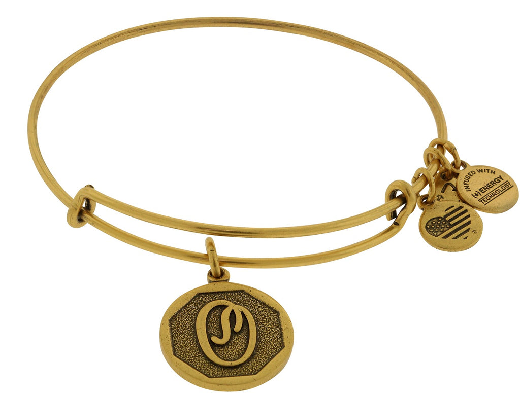 Alex and Ani Initial O Charm Bangle Bracelet - Rafaelian Gold Finish -