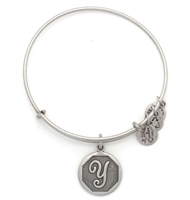 Alex and Ani Initial Y Charm Bangle Bracelet -