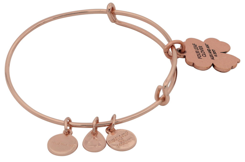 Alex and Ani Four Leaf Clover Charm Bangle Bracelet -