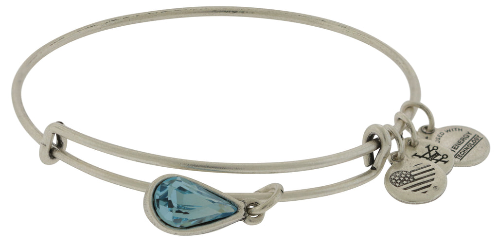 Alex and Ani March Drop Charm Bangle Bracelet - Rafaelian Silver -