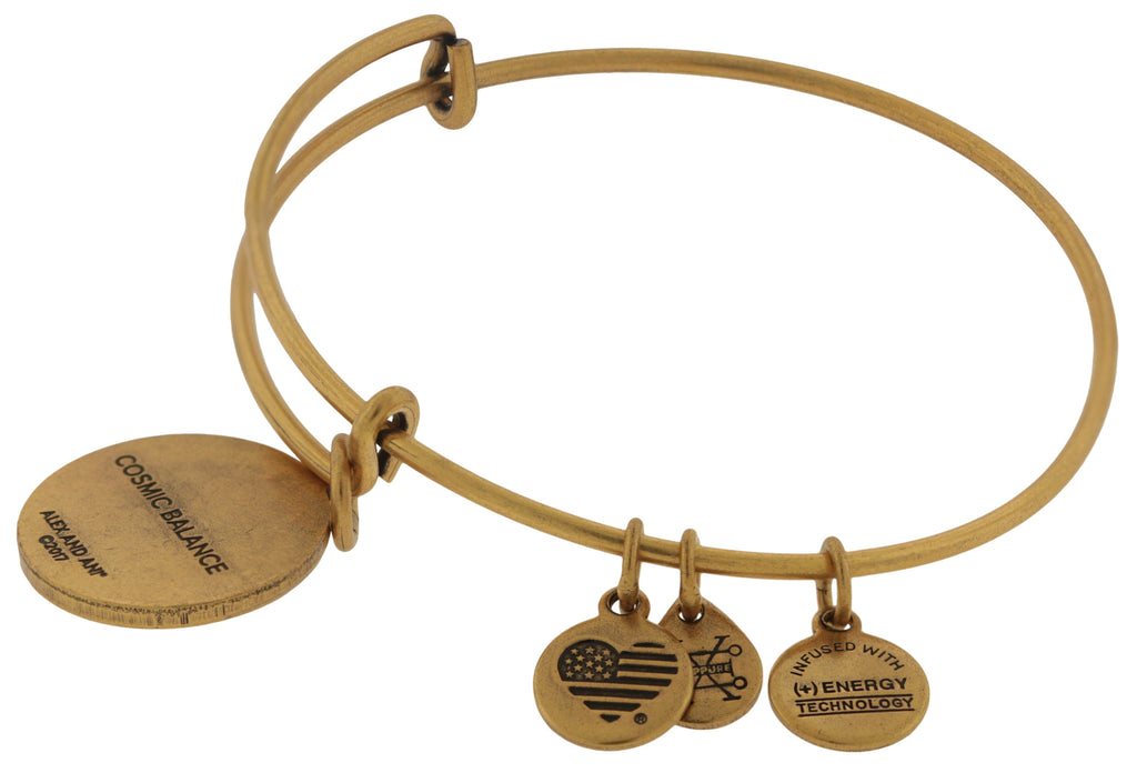 Alex and Ani Cosmic Balance Charm Bangle Bracelet - Rafaelian Gold Finish -