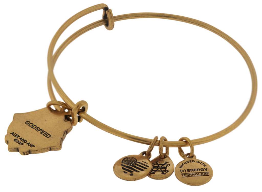 Alex and Ani Godspeed Charm Bangle Bracelet - Rafaelian Gold Finish -