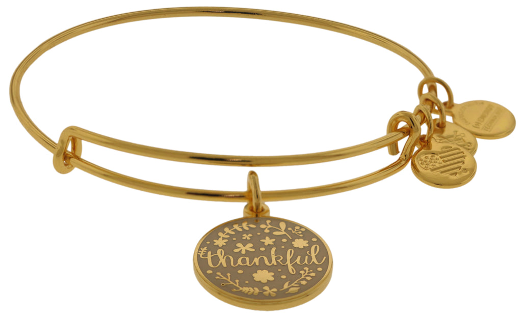Alex and Ani Thankful Charm Bangle Bracelet - Shiny Gold Finish -