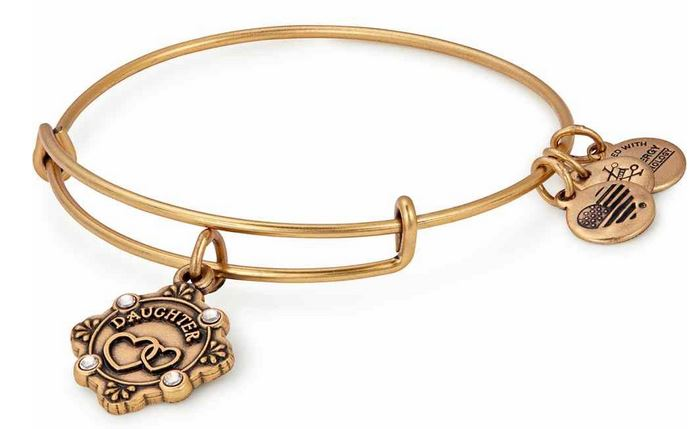 Alex and Ani Because I Love You Daughter Charm Bangle Rafealian Gold -