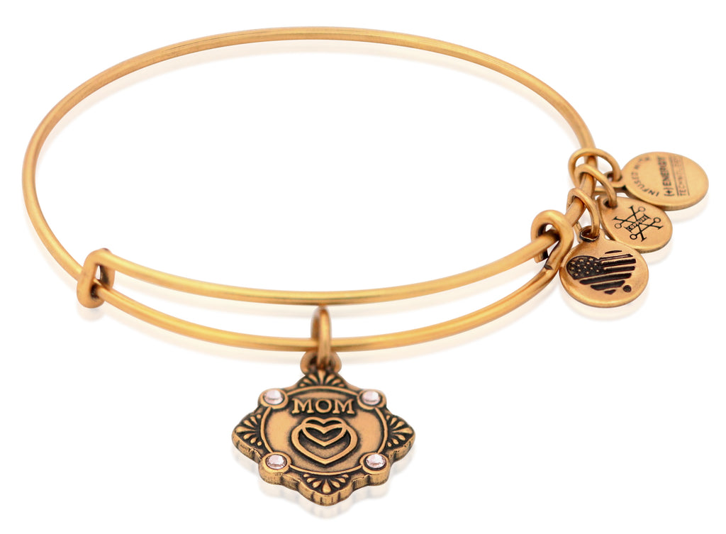 Alex and Ani Because I Love You Mom Charm Bangle Rafealian Gold -