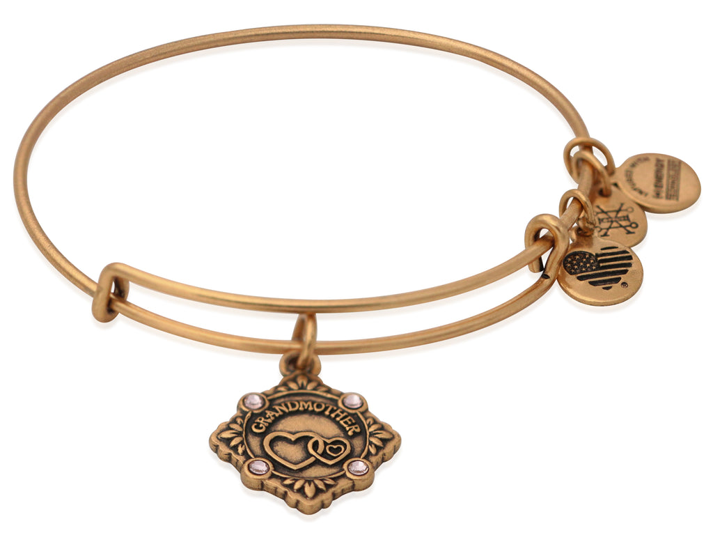 Alex and Ani Because I Love You Grandmother Charm Bangle Rafealian Gold -