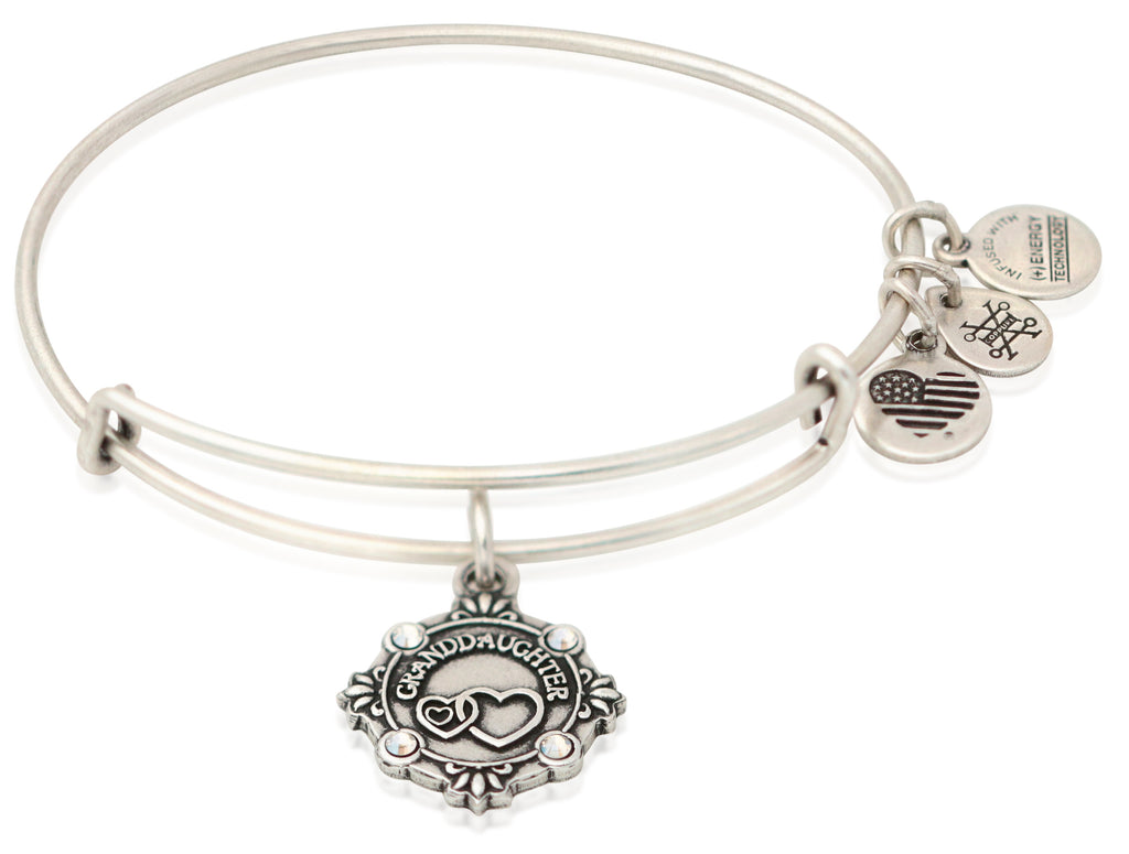 Alex and Ani Because I Love You Granddaughter Charm Bangle Rafealian Silver -