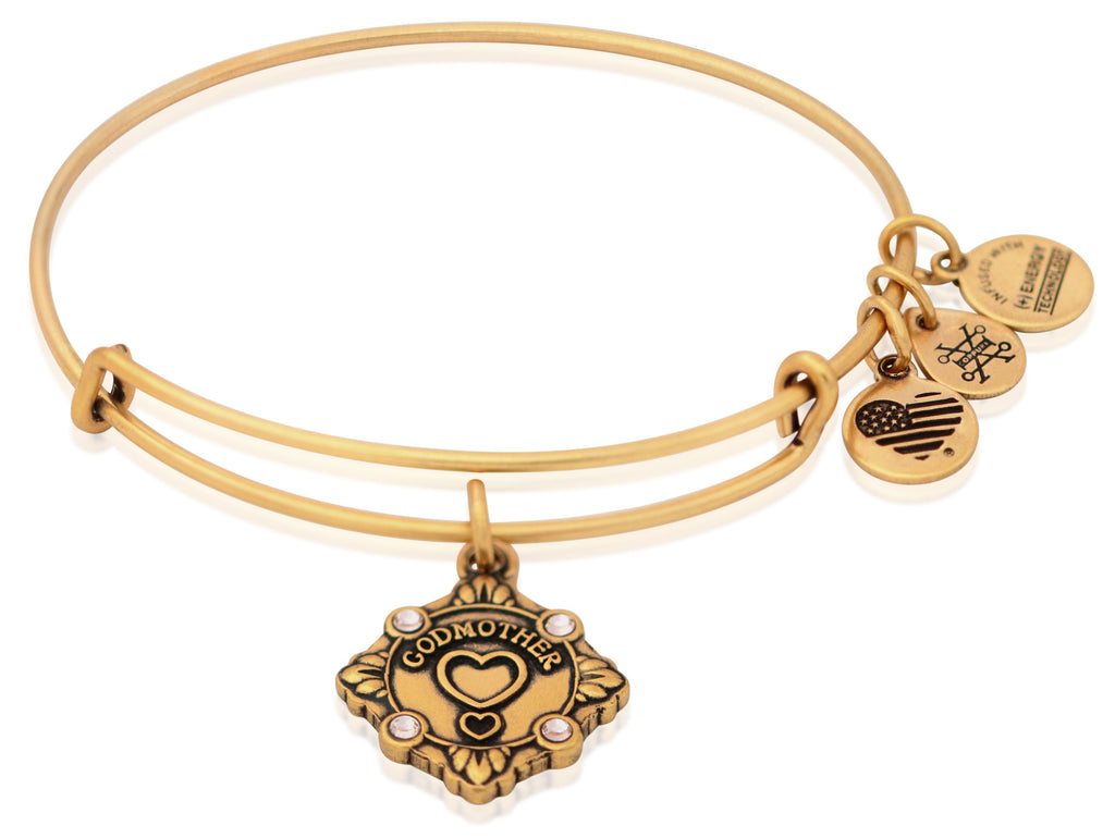 Alex and Ani Because I Love You Godmother Charm Bangle Rafealian Gold -
