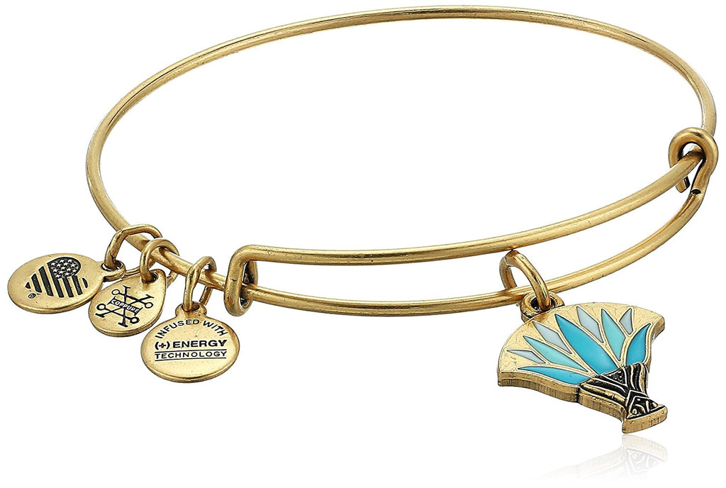 Alex and Ani Blue Lotus EWB Bangle Bracelet - Rafaelian Gold - Expandable -