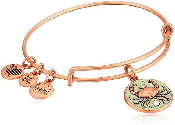 Alex and Ani Color Infusion - Crab Charm Bangle Bracelet - Rafaelian Rose Gold - Expandable -
