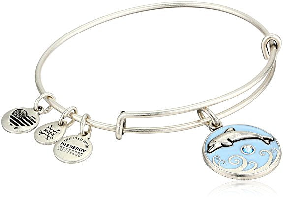 Alex and Ani Color Infusion - Dolphin Charm Bangle Bracelet - Rafaelian Silver - Expandable -