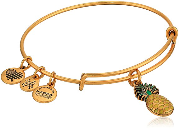 Alex and Ani Color Infusion - Pineapple Bangle Bracelet - Rafaelian Gold - Expandable  -