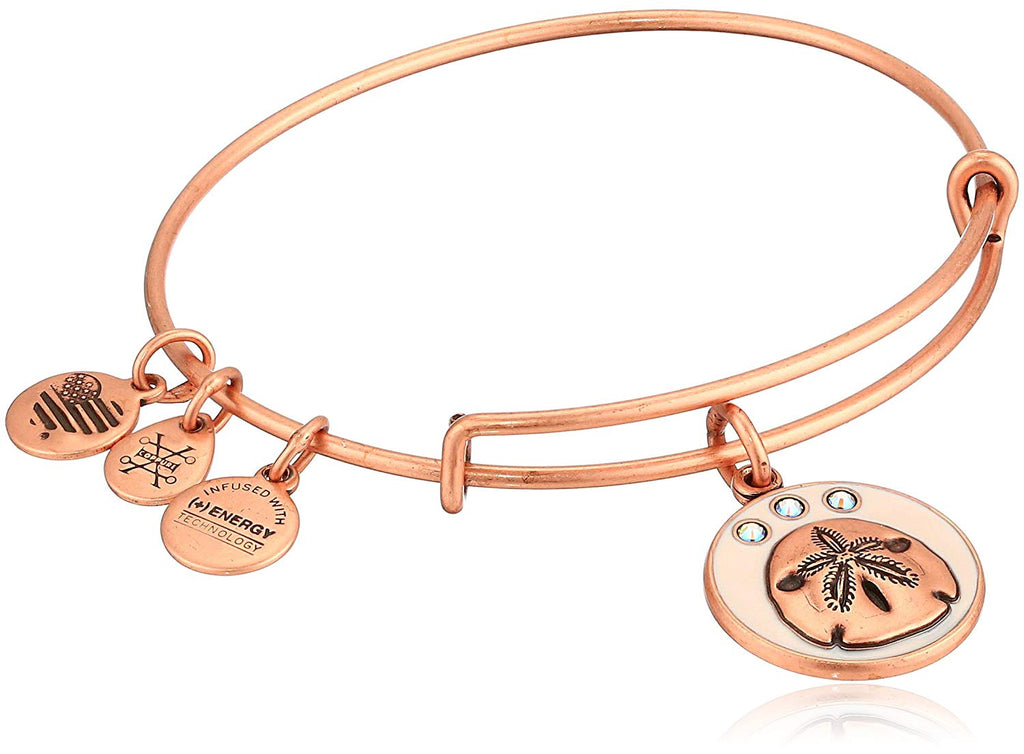 Alex and Ani Color Infusion - Sand Dollar Charm Bangle Bracelet - Rafaelian Rose Gold - Expandable -