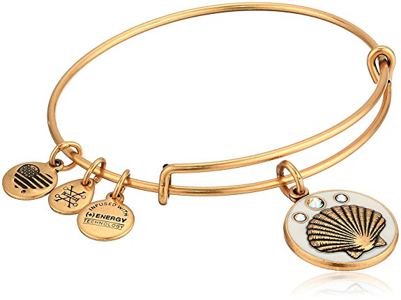 Alex and Ani Color Infusion - Shell Charm Bangle Bracelet - Rafaelian Gold - Expandable -