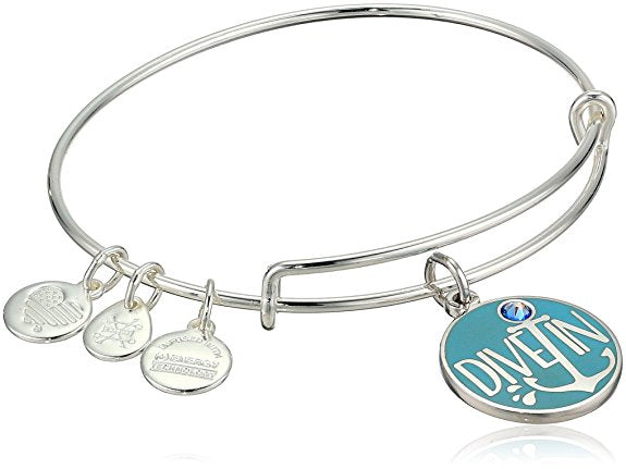 Alex and Ani Color Infusion - Words Are Powerful - Dive In Bracelet - Shiny Silver - Expandable  -