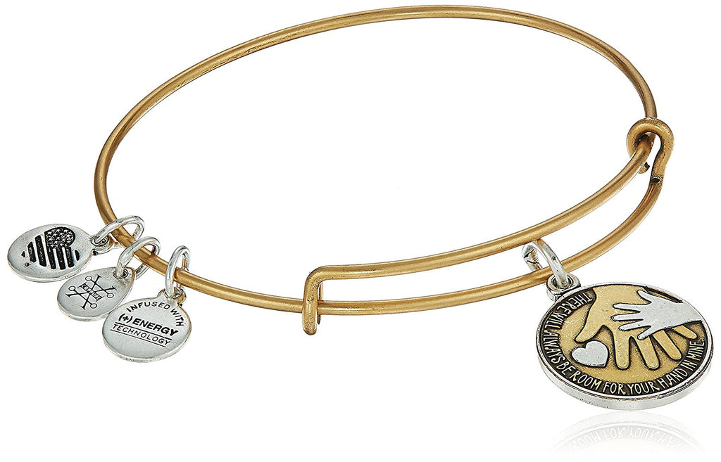 Alex and Ani Hand in Hand II Two Tone EWB Bangle Bracelet Rafaelian Gold - Expandable -