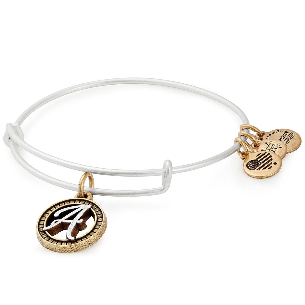 Alex and Ani Initial A Two-Tone Charm Bangle Bracelet - Rafaelian Gold and Silver Finish -