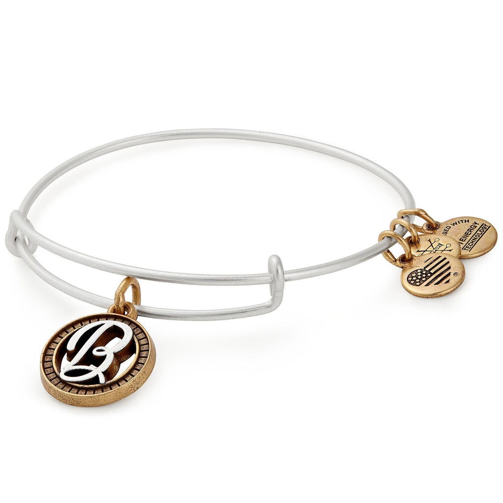 Alex and Ani Initial B Two-Tone Charm Bangle Bracelet - Rafaelian Gold and Silver Finish -