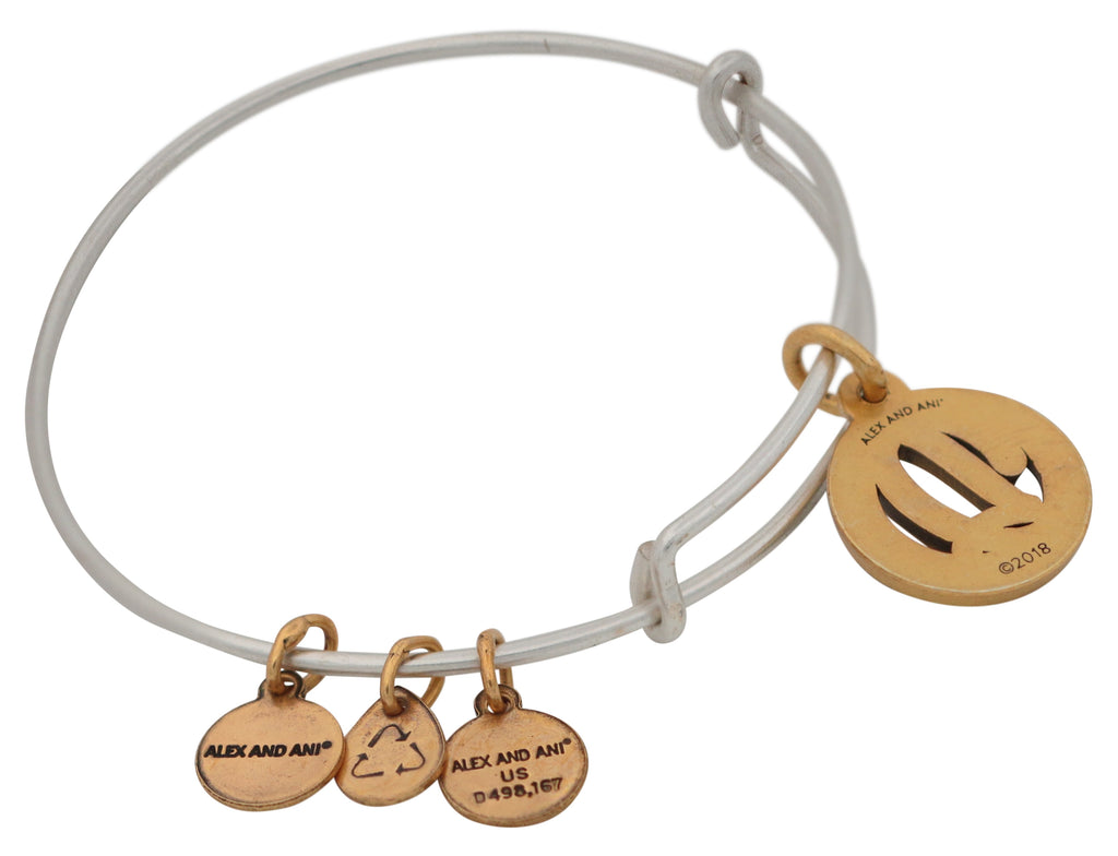Alex and Ani Initial D Two-Tone Charm Bangle Bracelet - Rafaelian Gold and Silver Finish -