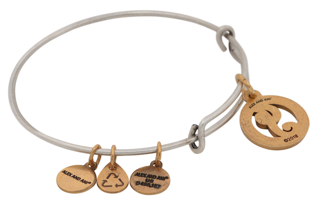 Alex and Ani Initial J Two-Tone Charm Bangle Bracelet - Rafaelian Gold and Silver Finish -