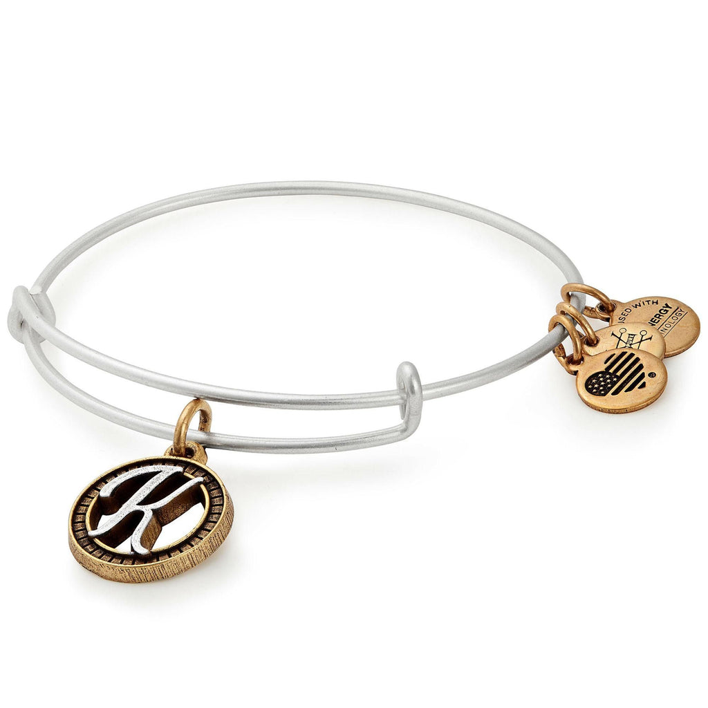Alex and Ani Initial K Two-Tone Charm Bangle Bracelet - Rafaelian Gold and Silver Finish -