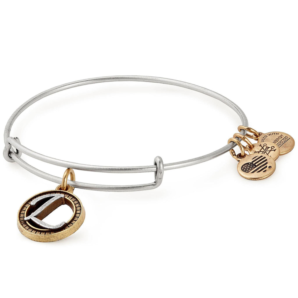 Alex and Ani Initial L Two-Tone Charm Bangle Bracelet - Rafaelian Gold and Silver Finish -