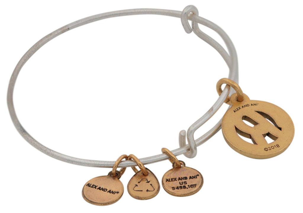 Alex and Ani Initial R Two-Tone Charm Bangle Bracelet - Rafaelian Gold and Silver Finish -