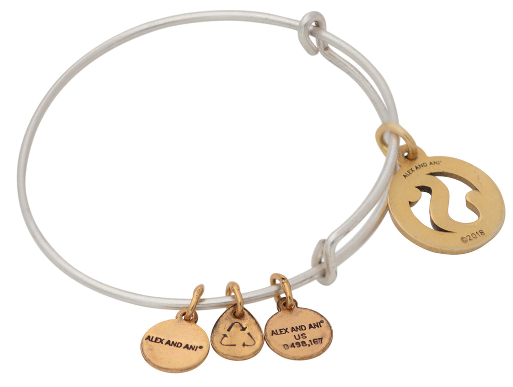 Alex and Ani Initial S Two-Tone Charm Bangle Bracelet - Rafaelian Gold and Silver Finish -
