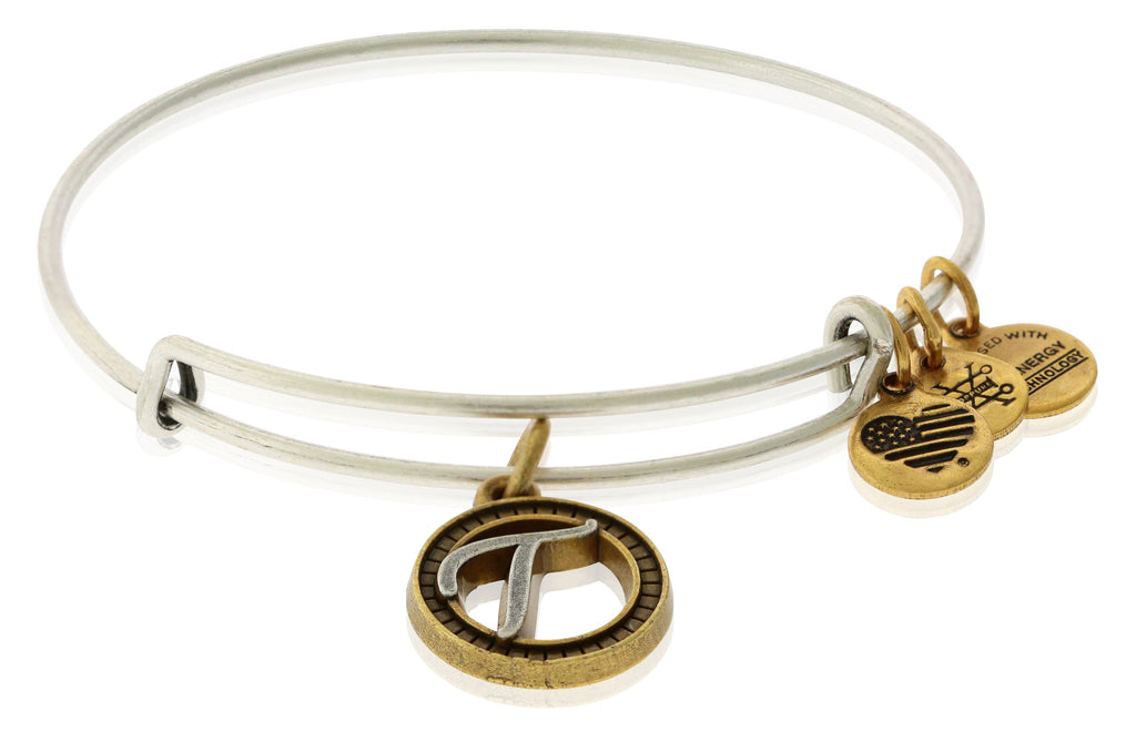 Alex and Ani Initial T Two-Tone Charm Bangle Bracelet - Rafaelian Gold and Silver Finish -
