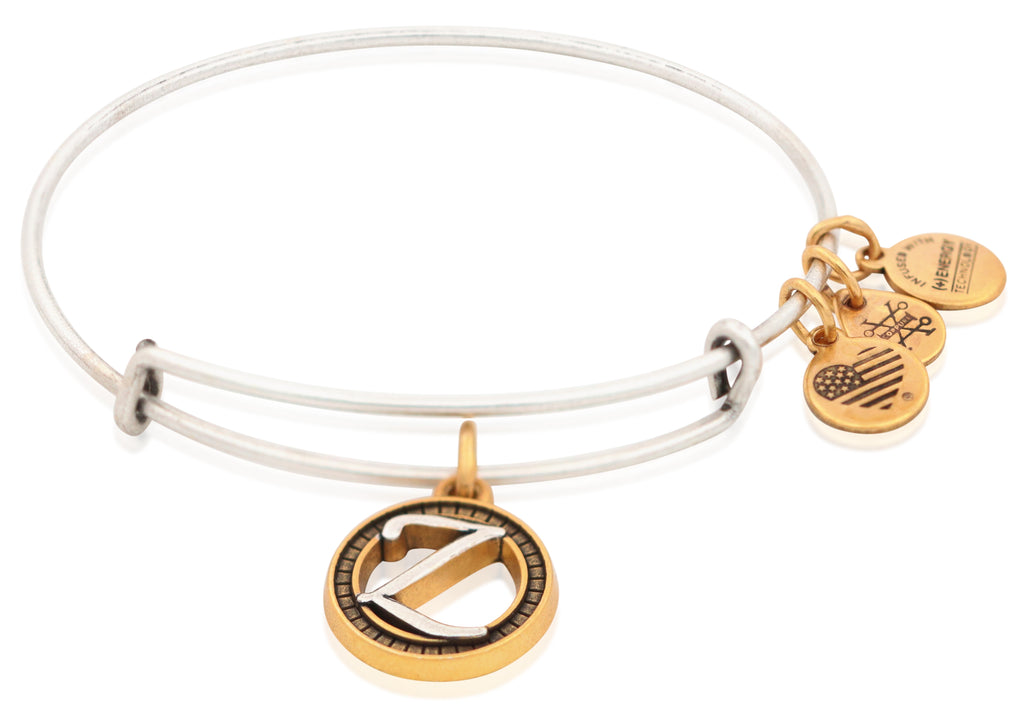 Alex And Ani Initial Z Two Tone Charm Bangle