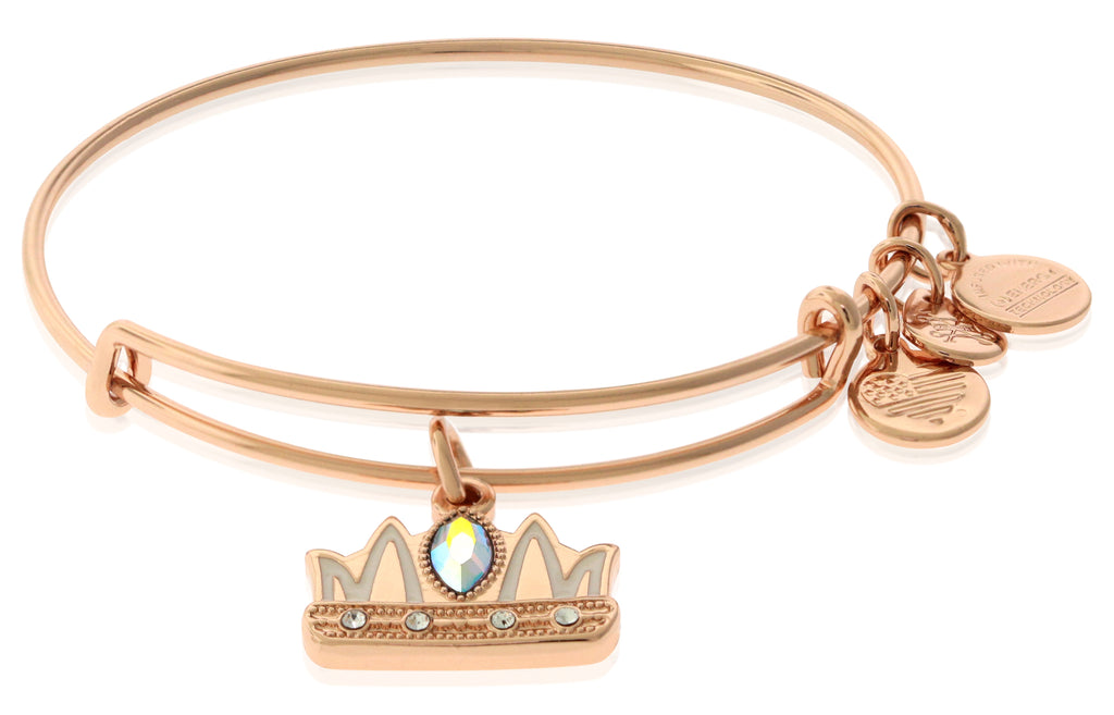 Alex and Ani Queen Mom Charm Bangle in Shiny Rose Gold Finish