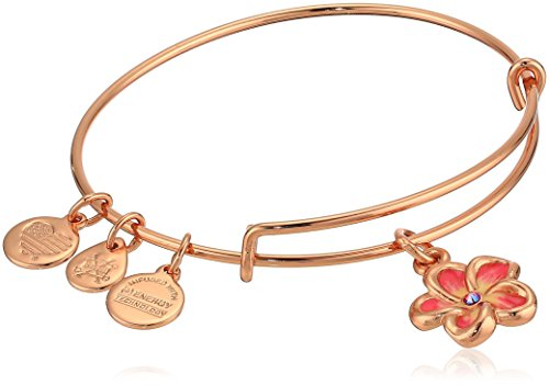 Alex and Ani Color Infusion - Tropical Flower Bangle Bracelet - Shiny Rose - Expandable  -