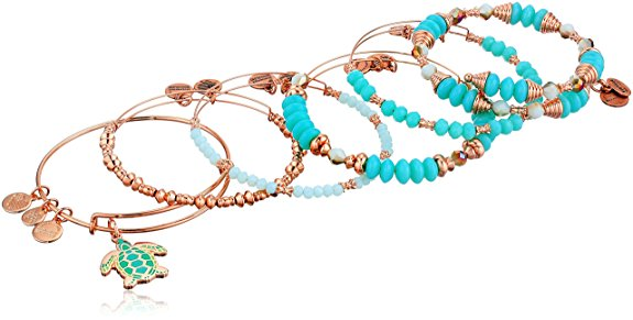 Alex and Ani Color Infusion - Go with the Flow - Set of 5 Bracelet - Shiny Rose - Expandable -