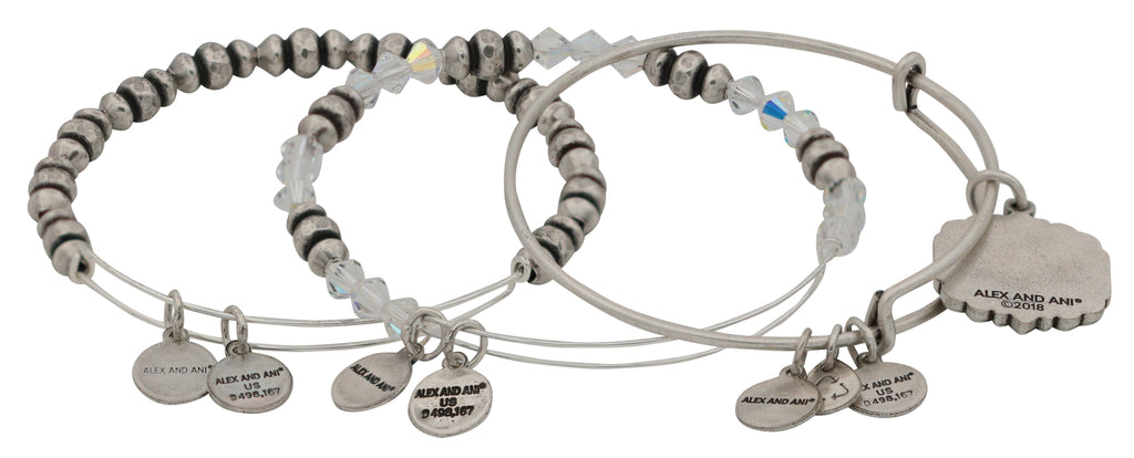 Alex and Ani Mom Set of Three Bangle Bracelets - Rafaelian Silver -