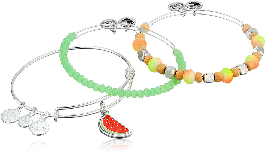 Alex and Ani Color Infusion - One in a Melon Set of 3 Bracelet - Shiny Silver - Expandable -