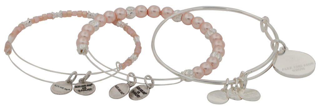 Alex and Ani Rose Art Infusion Set of Three Bangle Bracelets - Shiny Silver -