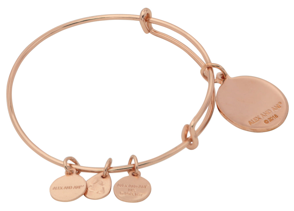Alex And Ani Words Are Poweful Blessed Rose Gold Charm Bangle -