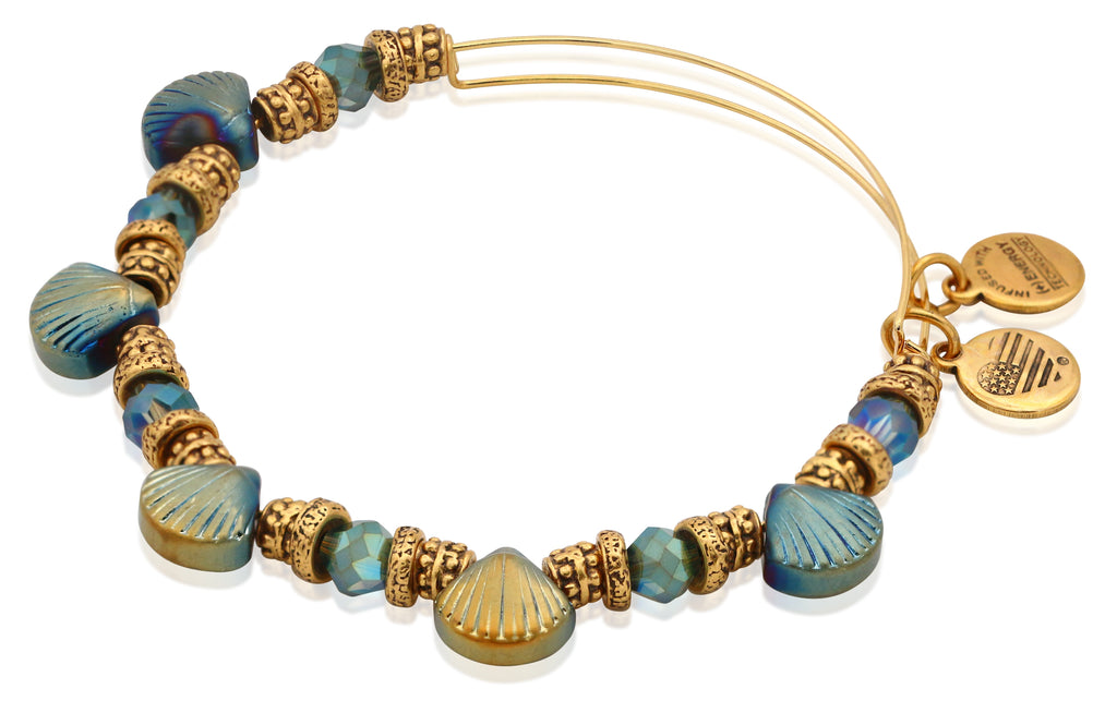 Alex and Ani Stone Seashore Beaded Bangle in Rafaelian Gold Finish