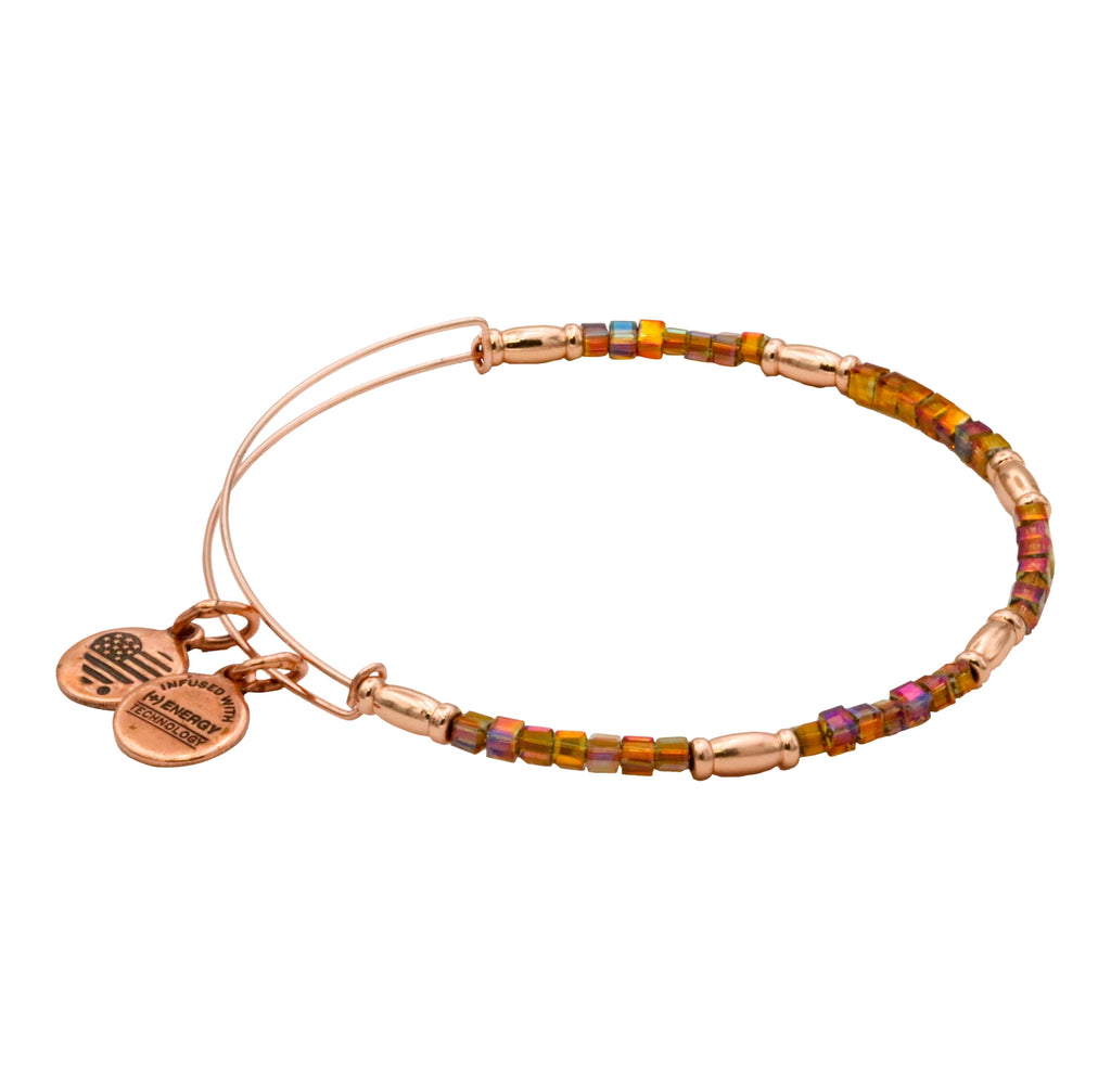 Alex and Ani Mirage Zephyr Expandable Beaded Bangle in Shiny Rose Gold