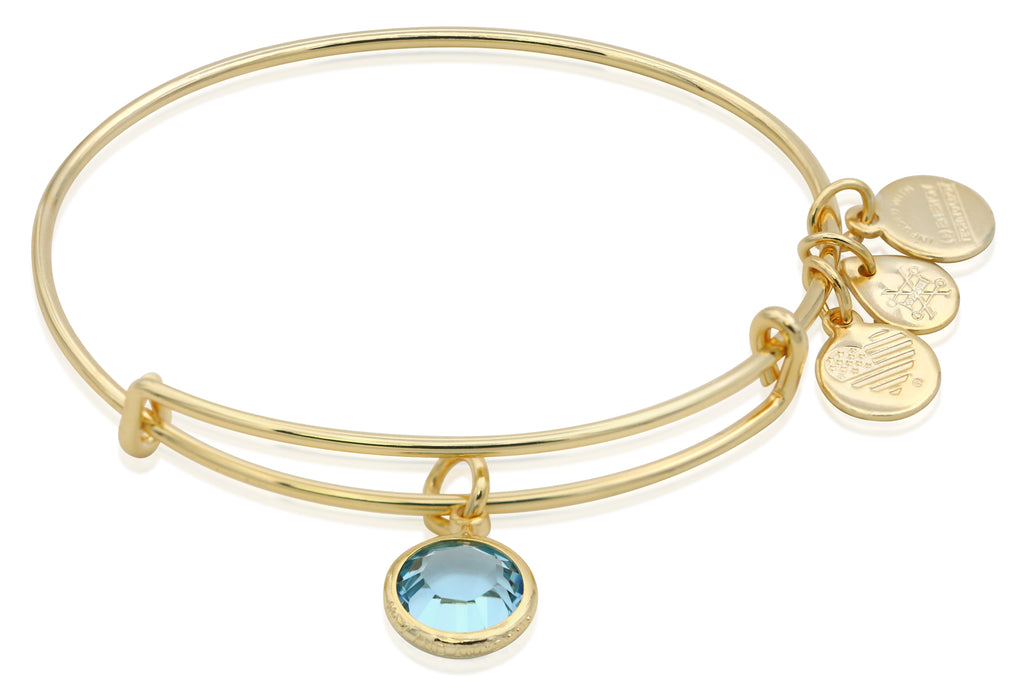 Alex and Ani March Color Code Aquamarine Bangle Bracelet Shiny Gold NWTBC