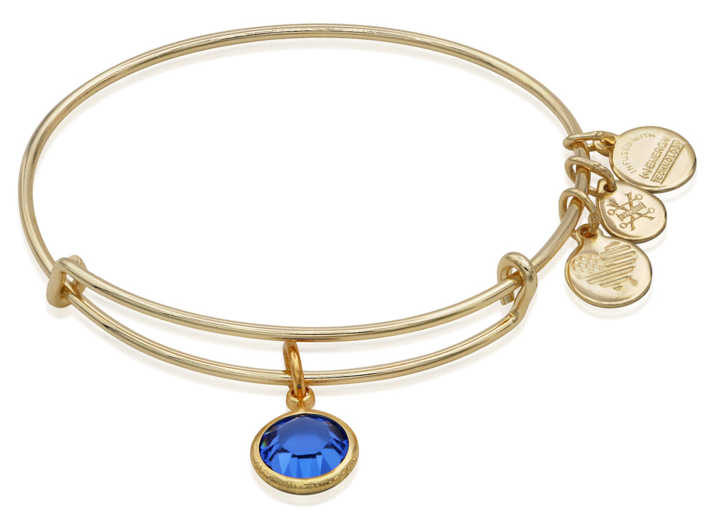 Alex and Ani September Color Code Sapphire Bangle Bracelet Shiny Gold NWTBC