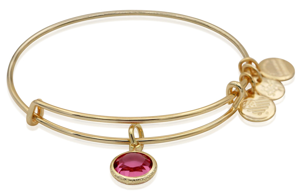 Alex and Ani October Color Code Rose Bangle Bracelet Shiny Gold NWTBC