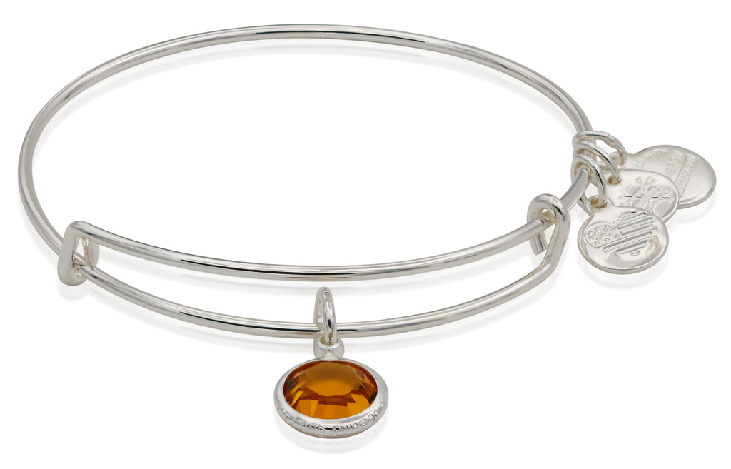 Alex and Ani Womens Swarovski Color Code Bangle Bracelet November/Topaz Color/Shiny Silver