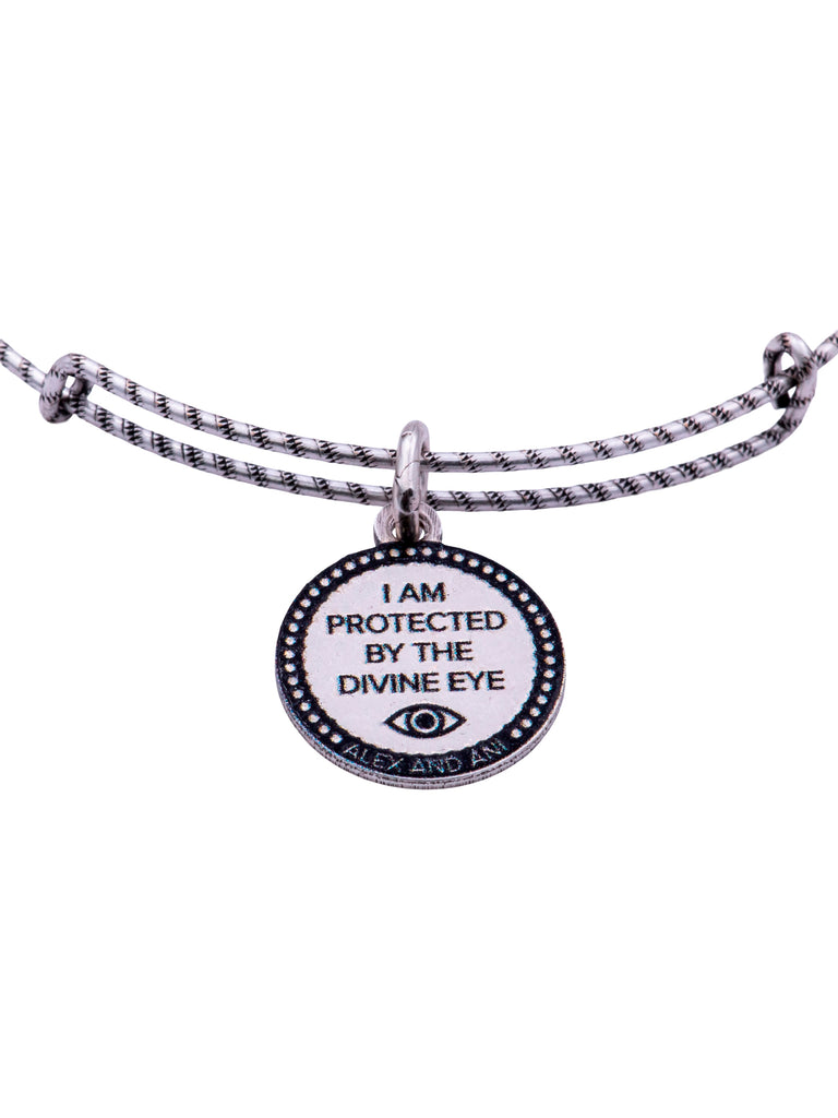 Alex and Ani Compass Double Sided Embossed Charm Bangle Bracelet - Rafaelian Silver