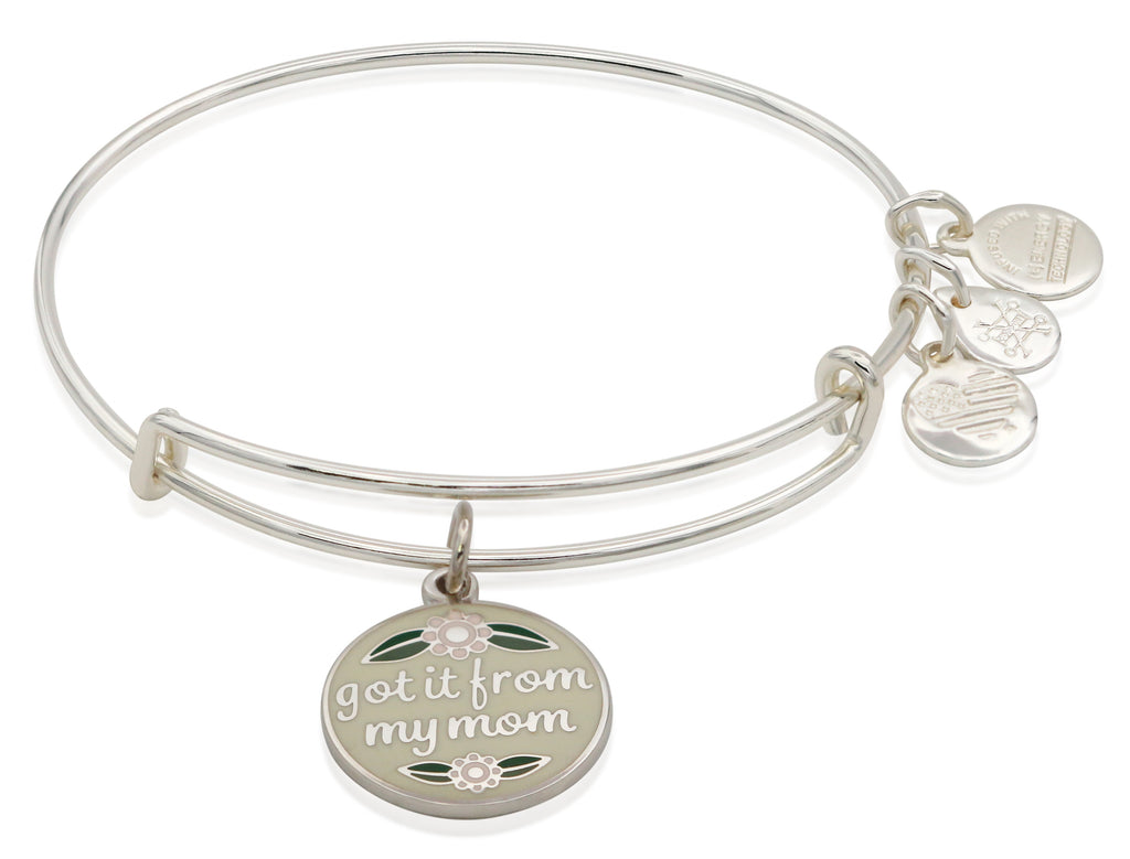Alex and Ani Got It From My Mom Charm Bangle Bracelet - Shiny Silver