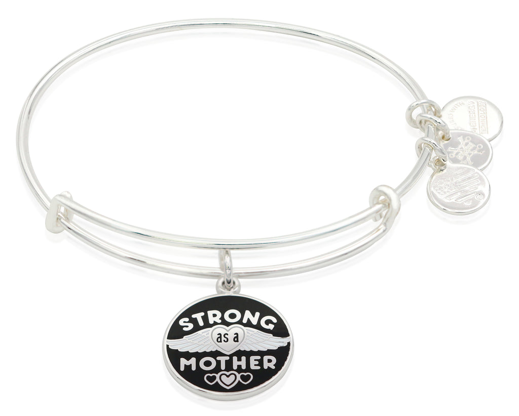 Alex and Ani Strong as a Mother Charm Bangle Bracelet - Shiny Silver Finish