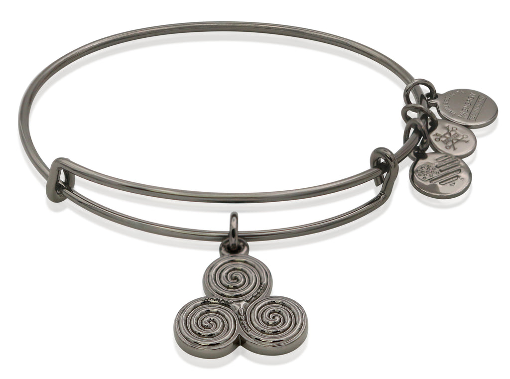 Alex and Ani Triskelion Bangle Bracelet Midnight Silver NWTBC