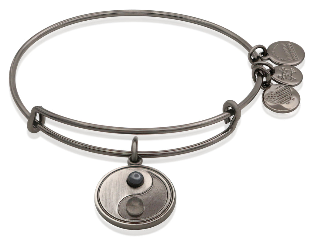 Alex and Ani Womens Two-Tone Yin Yang Bangle Bracelet Midnight Silver