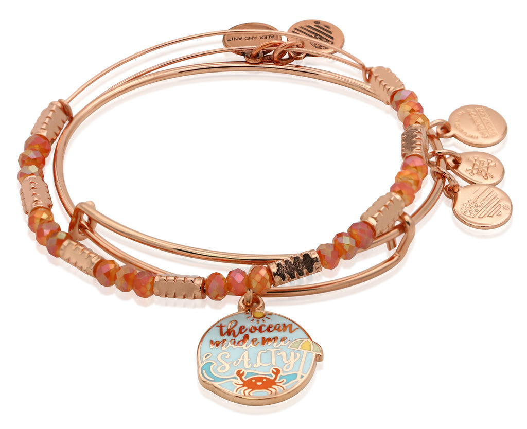 Alex and Ani The Ocean Made Me Salty Bangle Set of 2 Charm Bangle Bracelets - Shiny Rose Gold Finish
