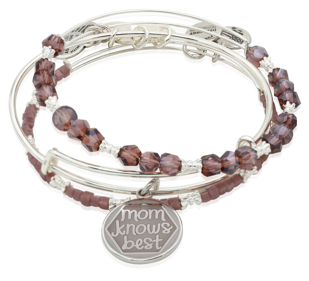 Alex and Ani Mom Knows Best Set of Three Bangle Bracelets - Shiny Silver Finish